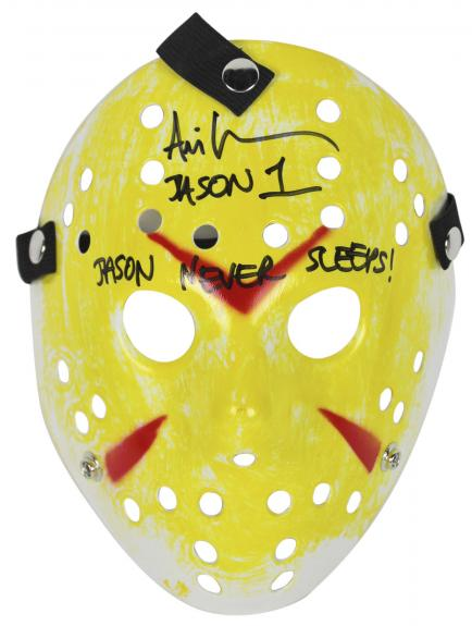 "Ari Lehman Friday The 13th ""Jason Never Sleeps!"" Signed Yellow Jason Mask BAS"