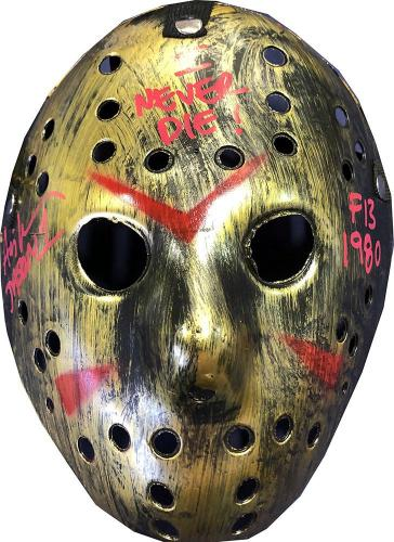 """Ari Lehman """"I Never Die"""" Autographed Friday the 13th Jason Voorhees Bronze Mask"""