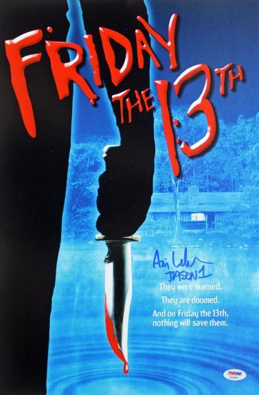 "Ari Lehman ""Jason 1"" Signed Friday The 13th 12x18 Mini Poster PSA/BAS"