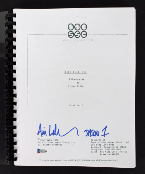 "Ari Lehman ""Jason 1"" Signed  Friday The 13th Movie Script BAS"
