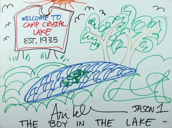"Ari Lehman ""Jason"" Friday The 13th Signed 18x24 Canvas Sketch PSA/DNA #7a71735"