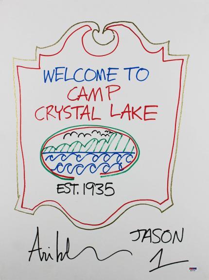 "Ari Lehman ""Jason"" Friday The 13th Signed 18x24 Canvas Sketch PSA/DNA #7a71737"