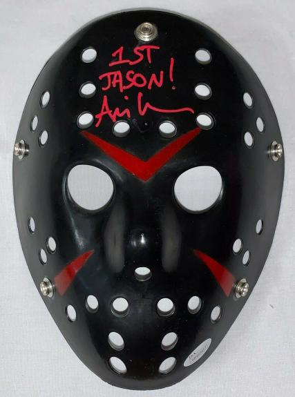 Ari Lehman Jason Voorhees Friday the 13th Signed Mask JSA Jason 1 Black Red