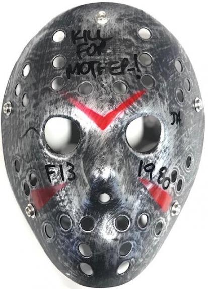 """Ari Lehman """"Kill For Mother"""" Autographed Friday the 13th Jason Voorhees Silver Mask"""