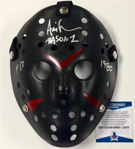"ARI LEHMAN signed ""F13 1980"" FRIDAY THE 13TH Jason Mask ~Beckett Witness BAS COA"