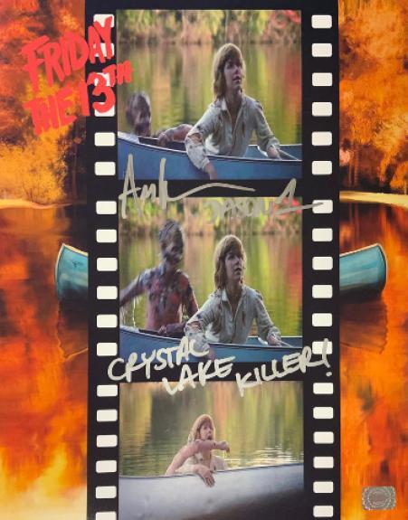 Ari Lehman signed Friday the 13th Filmstrip Jason Voorhees 11x14 Photo dual Jason 1/Crystal Lake Killer!- Lehman Hologram
