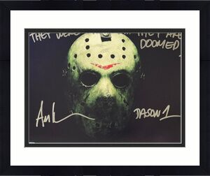 Ari Lehman signed Friday the 13th Jason Voorhees 11x14 Photo dual Jason 1/They Were Warned... They Are Doomed!- Lehman Hologram
