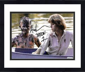 Ari Lehman signed Friday the 13th Jason Voorhees 8x10 Photo w/ Jason 1- Lehman Hologram (By boat)