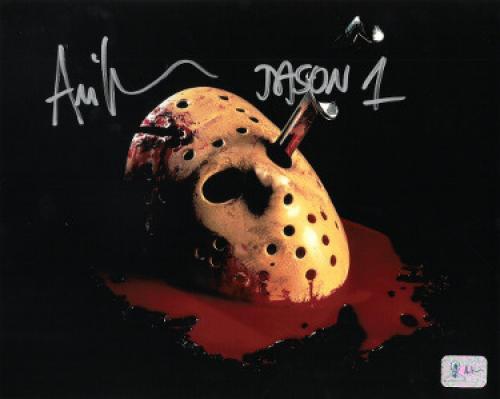 Ari Lehman signed Friday the 13th Jason Voorhees 8x10 Photo w/ Jason 1- Lehman Hologram (Mask w/ Blood)