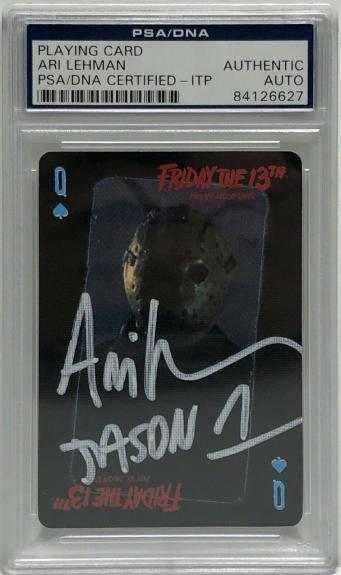 Ari Lehman Signed Friday The 13th Playing Card *Jason Voorhees PSA 84126627