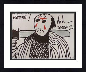 Ari Lehman Signed Friday The 13th Sketch 11x14 Canvas Deaths Matter JSA 22965