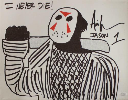 Ari Lehman Signed Friday The 13th Sketch 11x14 Canvas I Never Die JSA 22968