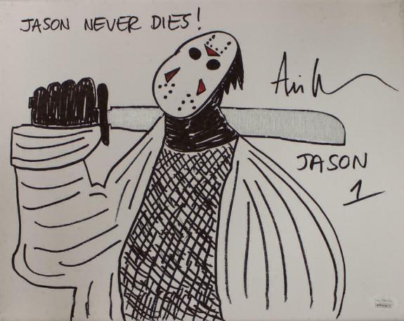 Ari Lehman Signed Friday The 13th Sketch 11x14 Canvas Jason Never Dies JSA 22958