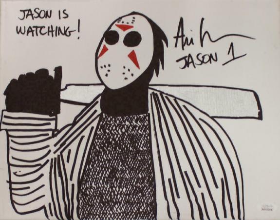 Ari Lehman Signed Friday The 13th Sketch 11x14 Canvas Jason's Watching JSA 22960