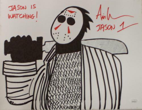 Ari Lehman Signed Friday The 13th Sketch 11x14 Canvas Jason's Watching JSA 22966