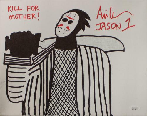 Ari Lehman Signed Friday The 13th Sketch 11x14 Canvas Kill For Mother JSA 22961