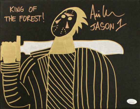 Ari Lehman Signed Friday The 13th Sketch 11x14 Canvas King Of Forest JSA 22973