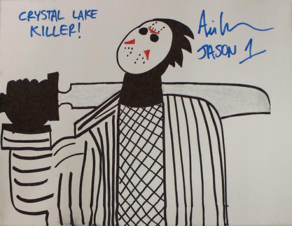 Ari Lehman Signed Friday The 13th Sketch 11x14 Canvas Lake Killer JSA 22962