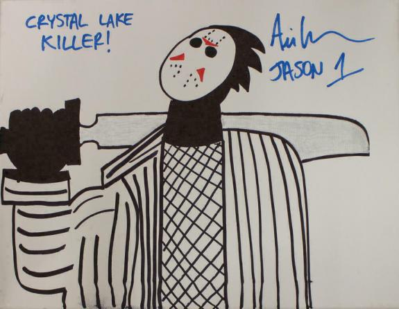 Ari Lehman Signed Friday The 13th Sketch 11x14 Canvas Lake Killer JSA 22962