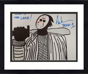 Ari Lehman Signed Friday The 13th Sketch 11x14 Canvas Lord Of The Lake JSA 22969