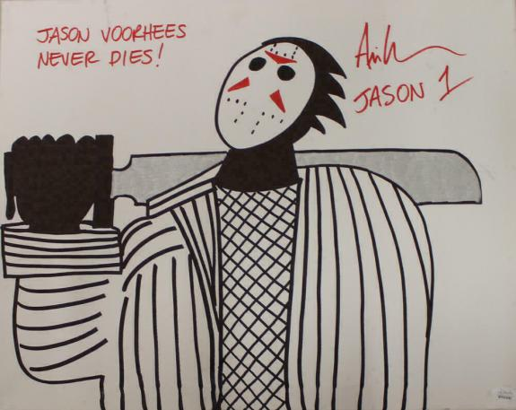 Ari Lehman Signed Friday The 13th Sketch 16x20 Canvas Jason Never Dies JSA 22978