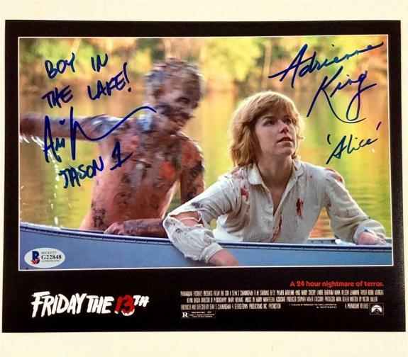 ARI LEHMAN~ADRIENNE KING signed 1980 Friday the 13th 8x10 photo ~Beckett BAS COA