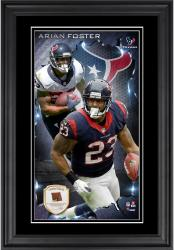 Arian Foster Houston Texans 10'' x 18'' Vertical Framed Photograph with Piece of Game-Used Football - Limited Edition of 250