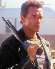 Arnold Schwarzenegger Autographed 16X20 Photo Terminator Shotgun PSA Y48906