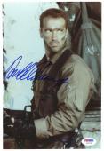"Arnold Schwarzenegger Autographed 8""x 10"" Predator Holding Gun Wearing Camouflage Photograph - PSA/DNA COA"