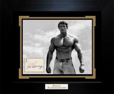 Arnold Schwarzenegger Autographed Body Builder Photo Custom Display AFTAL