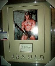 "Arnold Schwarzenegger ""conan The Barbarian"" Signed Matted Framed Psa/dna Coa A"