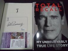Arnold Schwarzenegger Movie Legend Signed Autograph Total Recall Book Jsa Coa E
