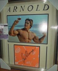 Arnold Schwarzenegger Mr Olympia Autograph Signed Double Matted & Framed Jsa Coa