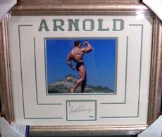 Arnold Schwarzenegger Mr. Olympia Signed 8x10 Double Matted Framed Psa/dna Coa B