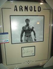 Arnold Schwarzenegger Mr. Olympia Signed 8x10 Double Matted Framed Psa/dna Coa G