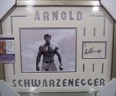 Arnold Schwarzenegger Mr Olympia Signed Auto 8x10 Jsa Coa Double Matted Framed A