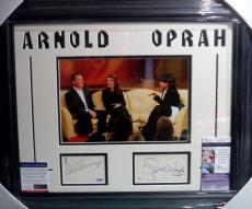 Arnold Schwarzenegger & Oprah Winfrey Show Dual Signed Matted Framed Psa Jsa