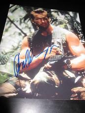 Arnold Schwarzenegger Signed 8x10 Photo Predator Action Shot In Person Coa Ny D