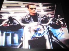 Arnold Schwarzenegger Signed 8x10 Photo Terminator Motorcycle Shot In Person X1