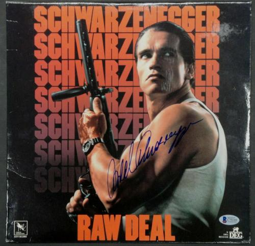 Arnold Schwarzenegger Signed Autographed Laserdisc Cover Raw Deal Beckett BAS