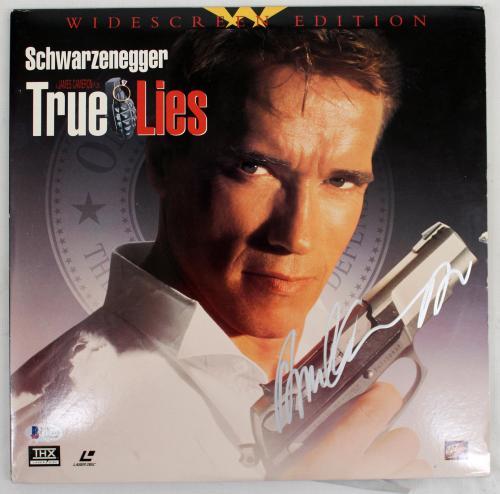 "Arnold Schwarzenegger Signed Autographed ""true Lies"" Laser Disc Cover Becket Bas"