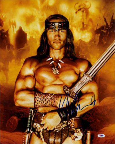 Arnold Schwarzenegger Signed Conan 16x20 Poster Photo PSA Exact Video Proof