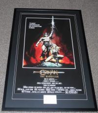 Arnold Schwarzenegger Signed Framed 27x41 Conan Movie Poster Display JSA