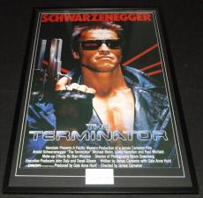 Arnold Schwarzenegger Signed Framed 27x41 Terminator Movie Poster Display JSA