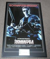 Arnold Schwarzenegger Signed Framed 28x43 Terminator 2 Movie Poster Display PSA