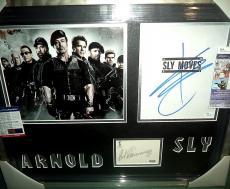 Arnold Schwarzenegger & Sylvester Stallone Expendables Signed Framed Jsa Psa