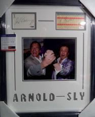 Arnold Schwarzenegger & Sylvester Stallone Movie Signed Matted Framed Psa Jsa