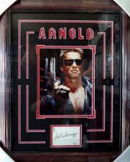 Arnold Schwarzenegger Terminator Signed 8x10 Jsa Coa Double Matted & Framed