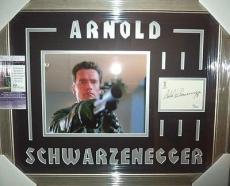 Arnold Schwarzenegger Terminator Signed 8x10 Jsa Coa Double Matted & Framed C