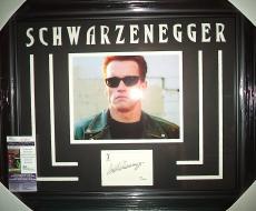 Arnold Schwarzenegger Terminator Signed 8x10 Jsa Coa Double Matted & Framed D